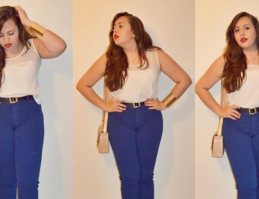 Look plus size com calça colorida