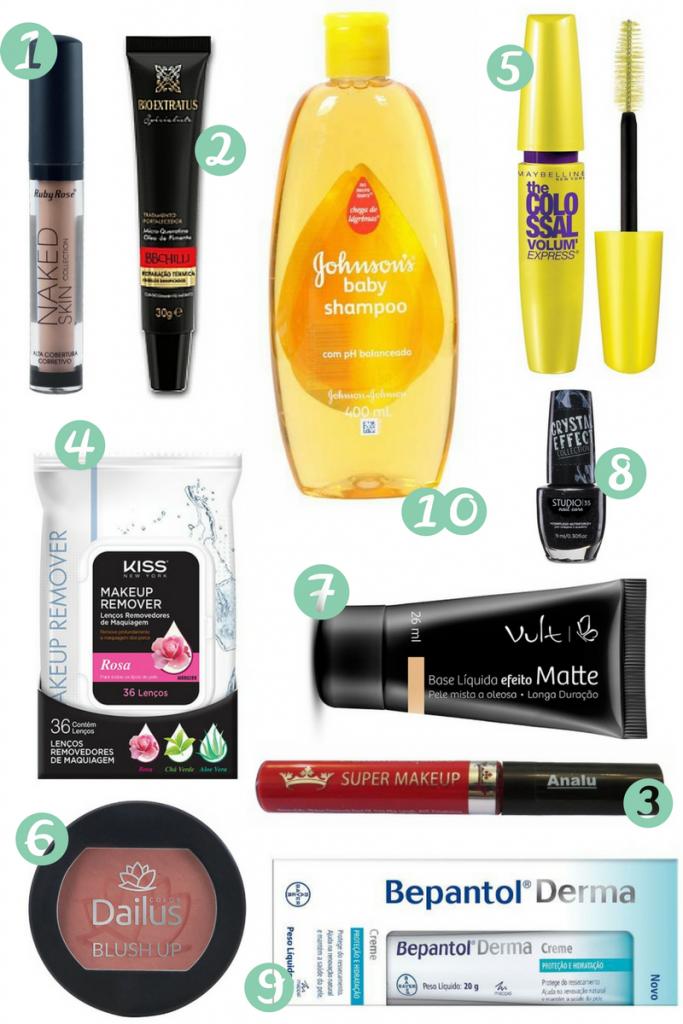10 cosméticos até 30 reais
