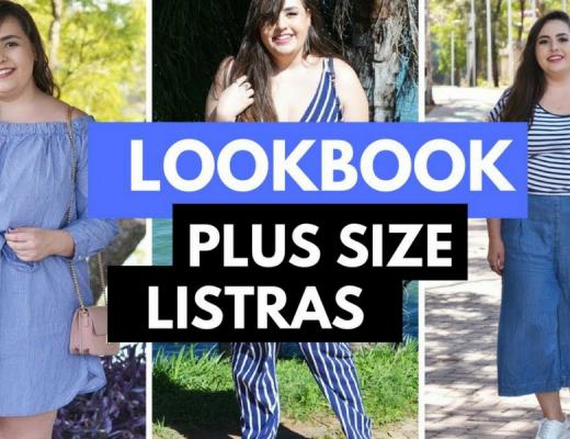Lookbook plus size com listras azuis e brancas