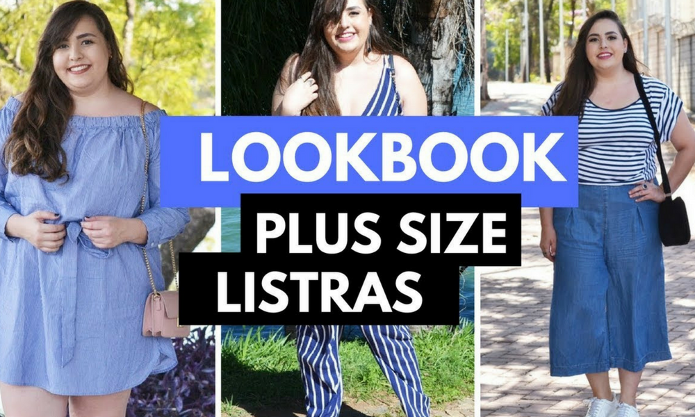 Lookbook plus size com listras azuis e brancas