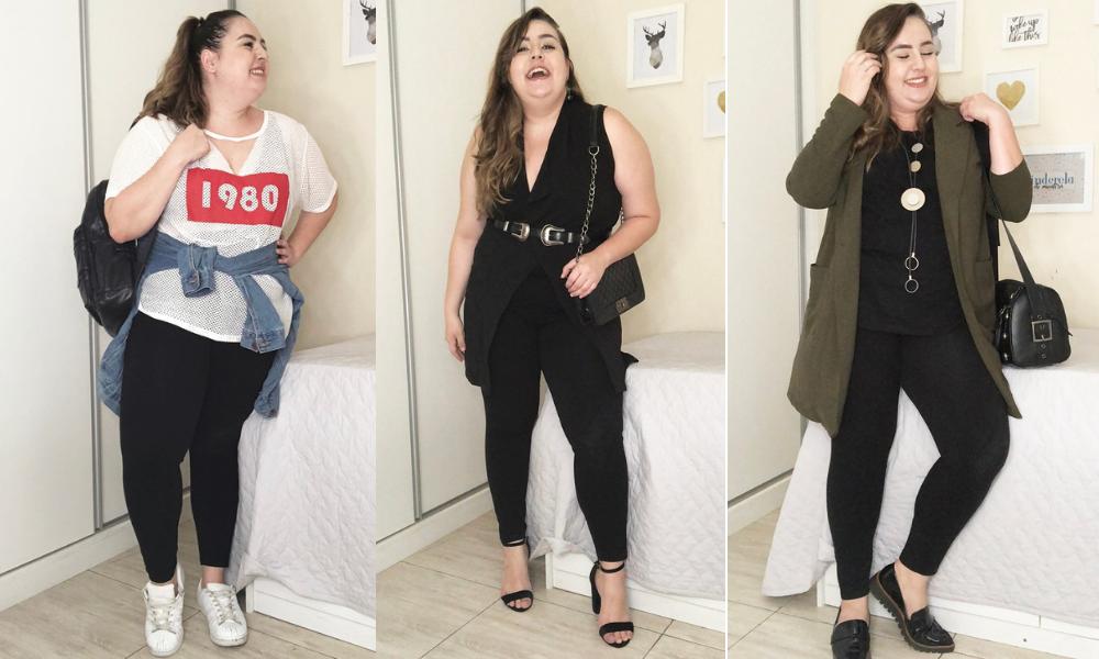 85be3cc15 Vocês me pediram e eu resolvi fazer 5 Looks plus size usando legging para  retomar essa série de desafios fashion. Já tinha feito vídeos semelhantes  há ...